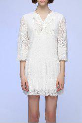 Bell Sleeve Lace Shift Dress -