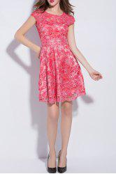 Short Sleeve Mesh Embroidered A Line Dress -