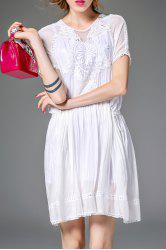 Belted Solid Color Embroidery Dress -