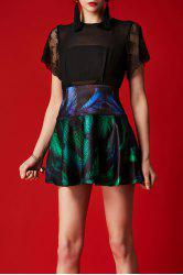 See-Through Leaf Print Mini Dress -