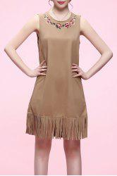 Fringed Sleeveless Mini Dress -