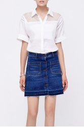 See Thru Short Sleeve Blouse -
