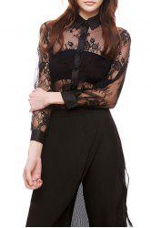Lace See Through Floral Shirt -