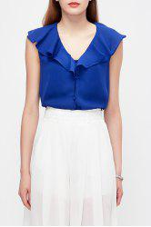 Solid Color Ruffles Blouse -