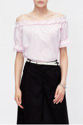 Pinstriped Cold Shoulder Blouse -