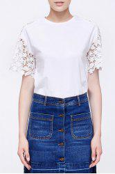 Lace Splicing Cotton T-Shirt -