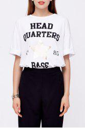 Flanging Sleeve Letter Print T-Shirt -