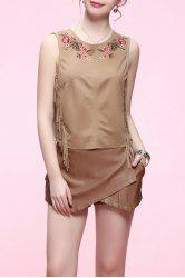 Fringed Embroidered Top -