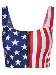 Zip Up American Flag Crop Top -