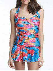 Fashion Colorful Floral Printed Halter Bodycon Flounce One-Piece Swimwear For Women