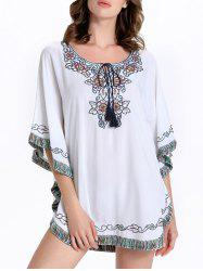 Stylish Batwing Sleeve Tassel Floral Embroidered Tunic Dress - WHITE