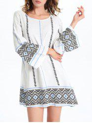 Stylish Geometric Print Women's Shift Dress - WHITE