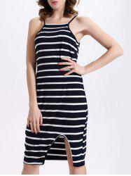 Brief Slit Front Striped Women's Cami Dress
