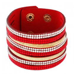 Vintage Faux Leather Layered Rhinestone Wrap Bracelet - RED