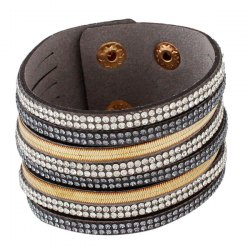 Vintage Layered Faux Leather Rhinestone Bracelet - GRAY