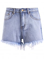 Zipper High Waisted Distressed Denim Shorts - DENIM BLUE