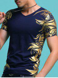 Slimming V-Neck Golden Totem Pattern Short Sleeves T-Shirt For Men