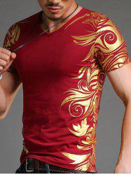 Slimming V-Neck Golden Totem Pattern Short Sleeves T-Shirt For Men -
