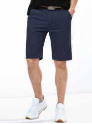 Casual Solid Color Button Embellished Straight Leg Zipper Fly Shorts For Men