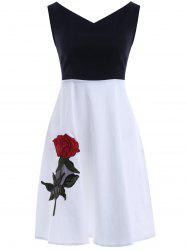 V Neck Sleeve Skater Dress - WHITE AND BLACK