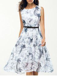 Jewel Neck Sleeveless Floral Print A Line Belted Dress - WHITE
