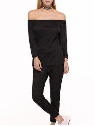 Off Shoulder Top with Drawstring Running Jogger Pants - BLACK
