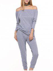 Off Shoulder Top with Drawstring Running Jogger Pants - GRAY