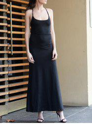 Black Spaghetti Strap Backless Split Maxi Dress - BLACK
