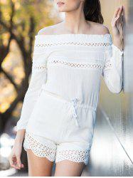 Alluring Off-The-Shoulder Long Sleeve Drawstring Women's White Romper