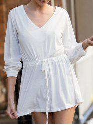 Stylish Plunging Neck Long Sleeve Drawstring Design Women's White Romper
