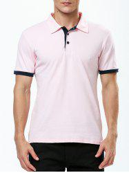 Refreshing Turn-down Collar Purfled Fitted Short Sleeves T-Shirt For Men -