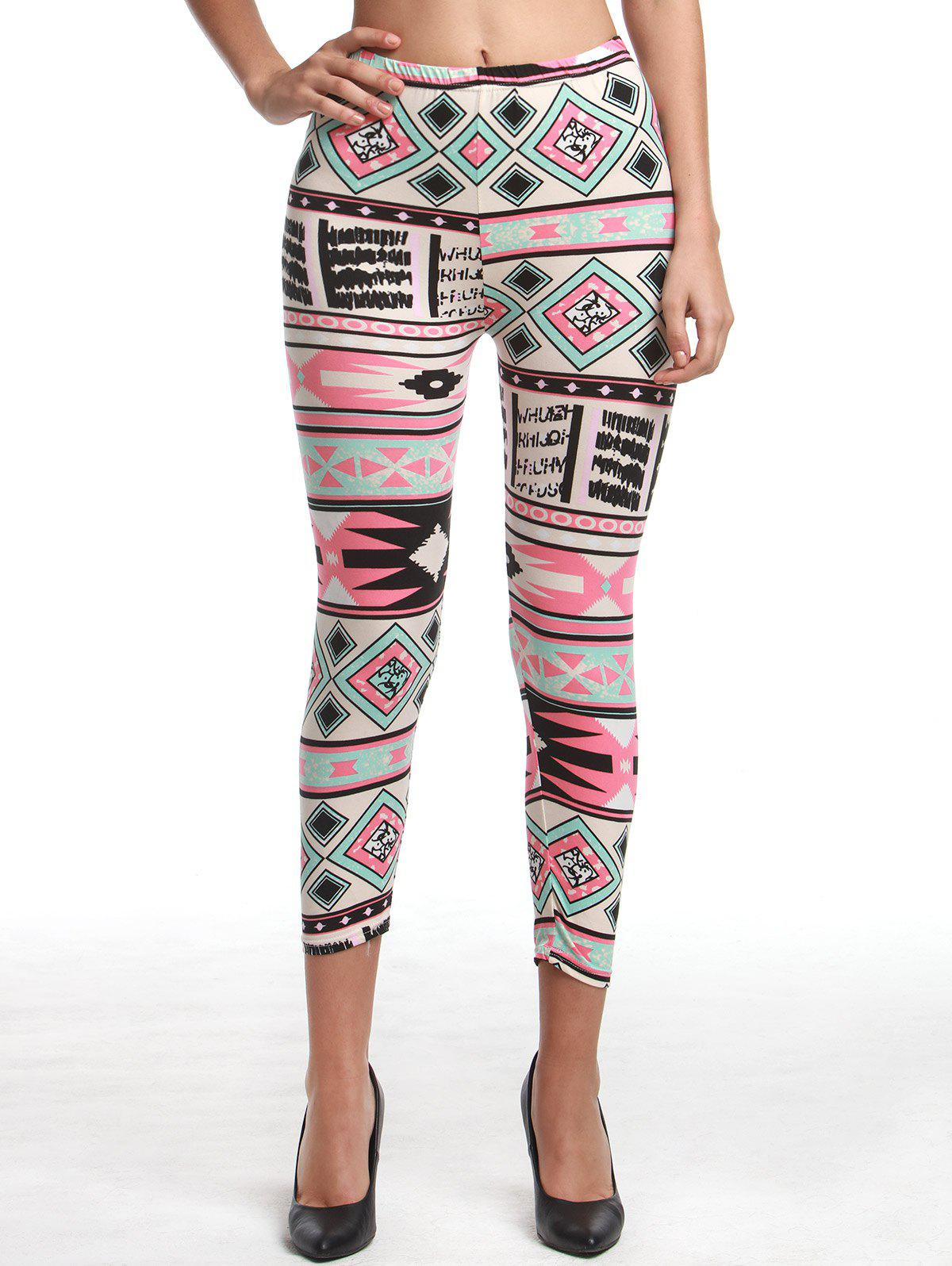 Chic Womens High Waist Geometrical Print Hit Color Capri LeggingsWOMEN<br><br>Size: ONE SIZE(FIT SIZE XS TO M); Color: COLORMIX; Style: Fashion; Material: Polyester; Waist Type: High; Pattern Type: Print; Weight: 0.136kg; Package Contents: 1 x Leggings;