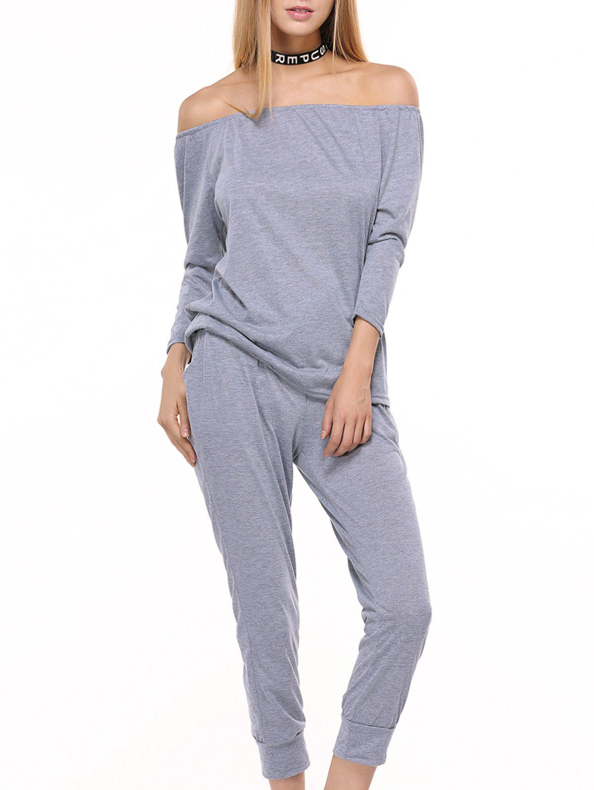 Fancy Off Shoulder Top with Drawstring Running Jogger Pants