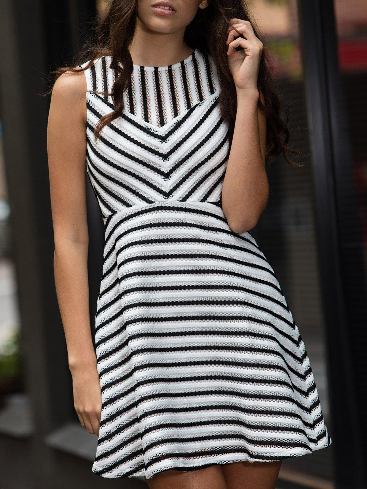 Affordable Stripe Mesh A Line Sleeveless Dress