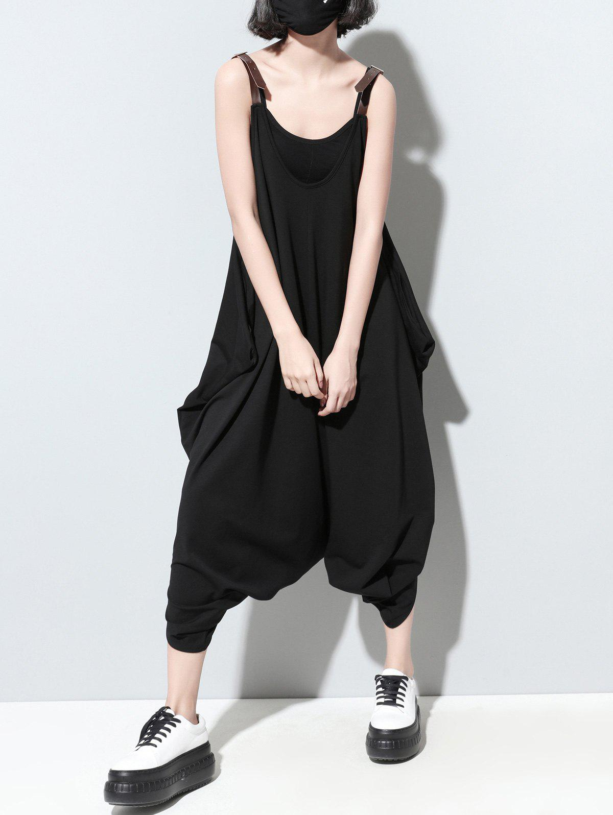 Hot Fashionable Pocket Design Loose-Fitting Solid Color Women's Jumpsuit