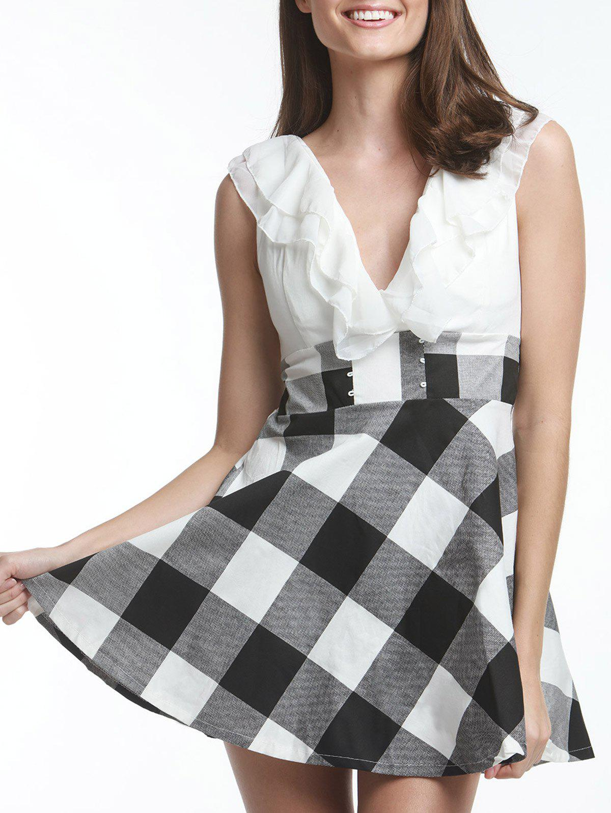 Fashion Sweet V-Neck Checked Lace-Up Selvedge Design Women's Dress