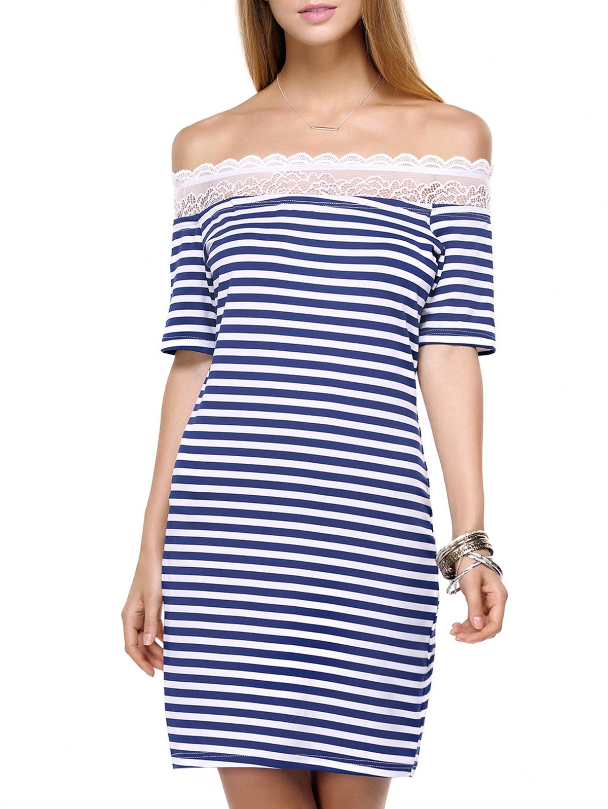 Outfits Striped Lace Splicing Off The Shoulder Short Dress