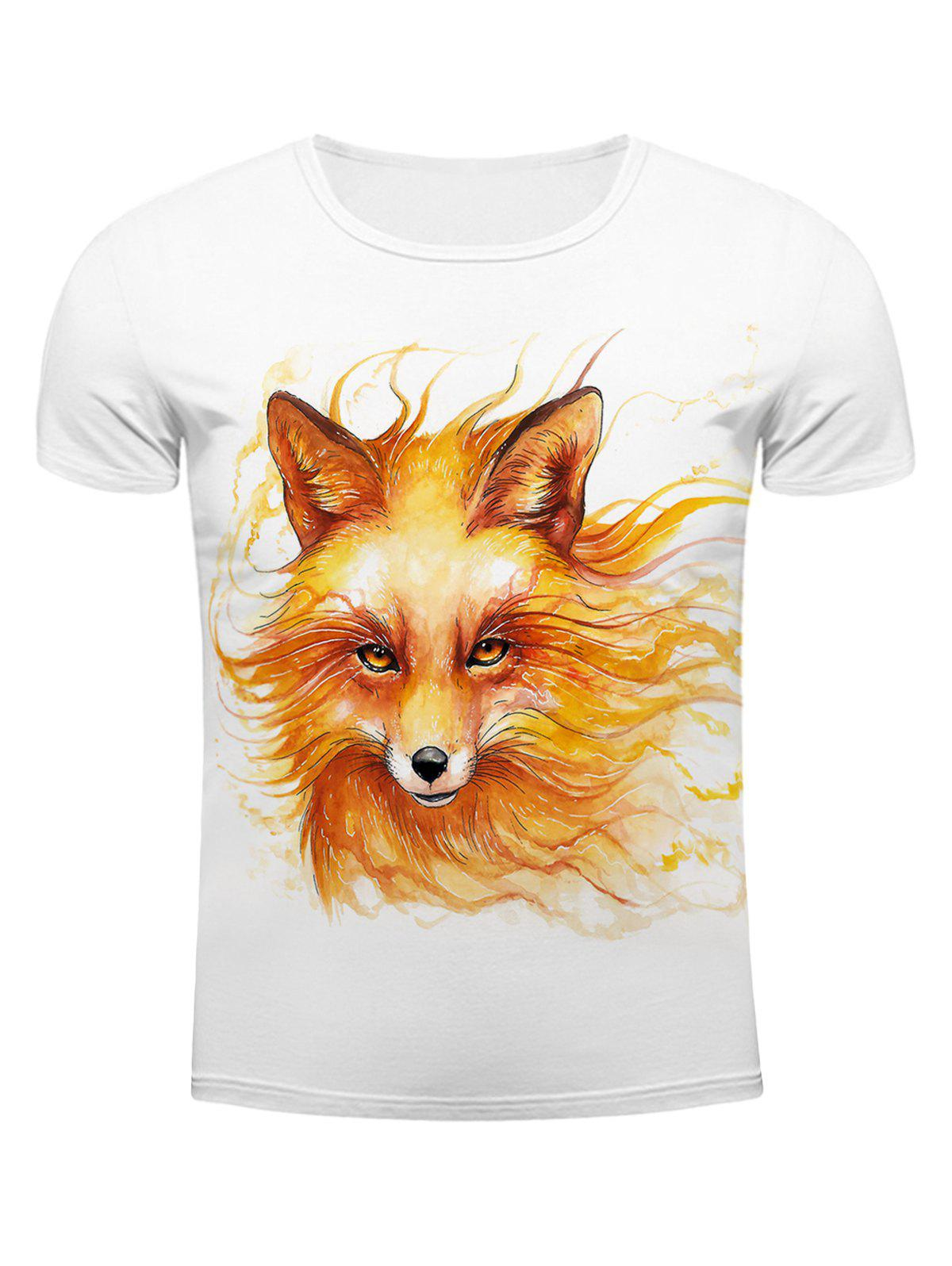 White Round Neck Cool Wolf Head Pattern Slimming Short Sleeves 3D T-Shirt For MenMEN<br><br>Size: M; Color: WHITE; Style: Fashion; Material: Cotton Blends; Sleeve Length: Short; Collar: Round Neck; Embellishment: 3D Print; Pattern Type: Animal; Weight: 0.231kg; Package Contents: 1 x T-Shirt;