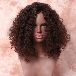 Fluffy Kinky Curly Capless Vogue Dark Brown Medium Synthetic Wig For Women