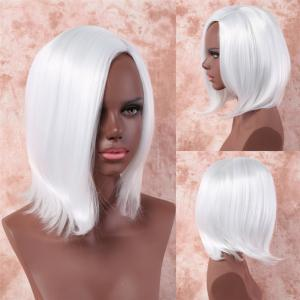 Fancy White Straight Capless Medium Side Bang Synthetic Wig For Women