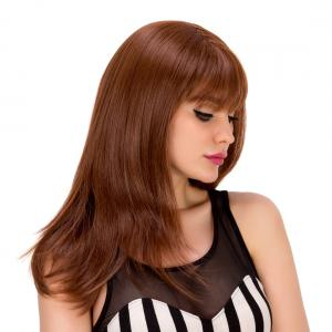 Elegant Long Layered Red Brown Full Bang Straight Synthetic Wig For Women