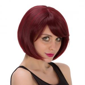 Stunning Short Wine Red Synthetic Straight Bob Style Capless Wig For Women - Wine Red