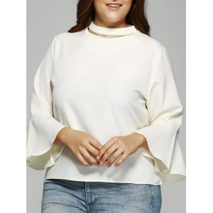 Trendy Solid Color Flare Sleeve Loose Fitting Blouse