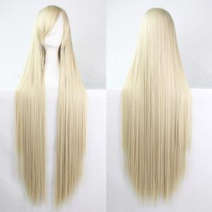 Charming Long Glossy Straight Side Bang Harajuku Anime Synthetic Cosplay Wig - Light Gold