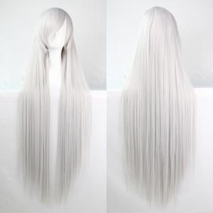 Charming Long Glossy Straight Side Bang Harajuku Anime Synthetic Cosplay Wig - Silver White