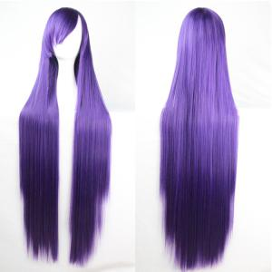 Charming Long Glossy Straight Side Bang Harajuku Anime Synthetic Cosplay Wig - Deep Purple - 14inch