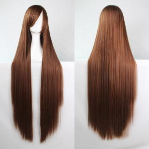 Charming Long Glossy Straight Side Bang Harajuku Anime Synthetic Cosplay Wig - Brown