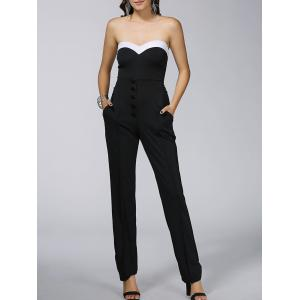 Color Block High-Waist Front Button Jumpsuit