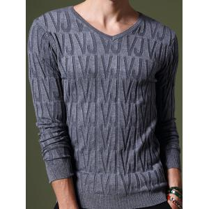 Refreshing V-Neck Letters Pattern Slimming Long Sleeves Sweater For Men - Blue Gray - L