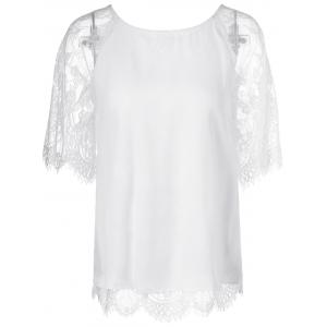 Elegant Round Neck Short Sleeves Splice Lace T-Shirt For Women - White - S